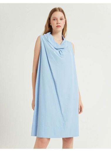 BGN Mavi - Yaka Detaylı Poplin Elbise Mavi